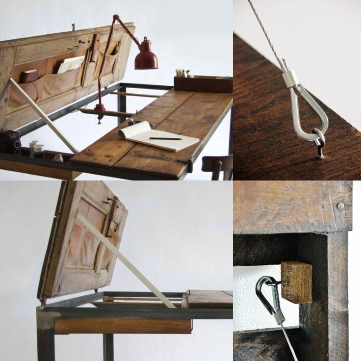 vintage aufklappbarer schreibtisch aus holz im industrial stil m bel pinterest. Black Bedroom Furniture Sets. Home Design Ideas