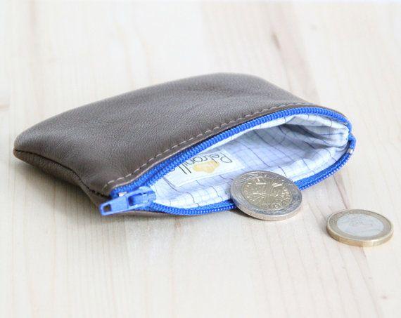 Porte-monnaie Cuir Marron Homme // Zip Bleu // Carreaux Chemise Bleu Marine Bleu Ciel // Cadeau Fête des pères // PMH18