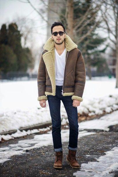 the metro man blogger mens jacket shearling jacket menswear jacket t-shirt jeans shoes mens skinny jeans mens boots