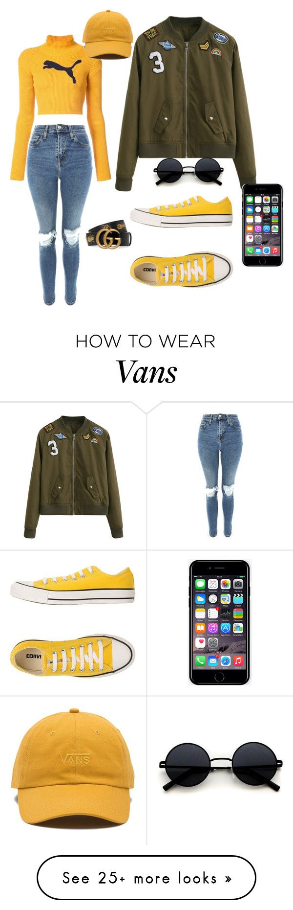 """""""Mall Outfit"""" by bibybenci on Polyvore featuring WithChic, Puma, Topshop, Converse, Vans, Gucci and Off-White"""