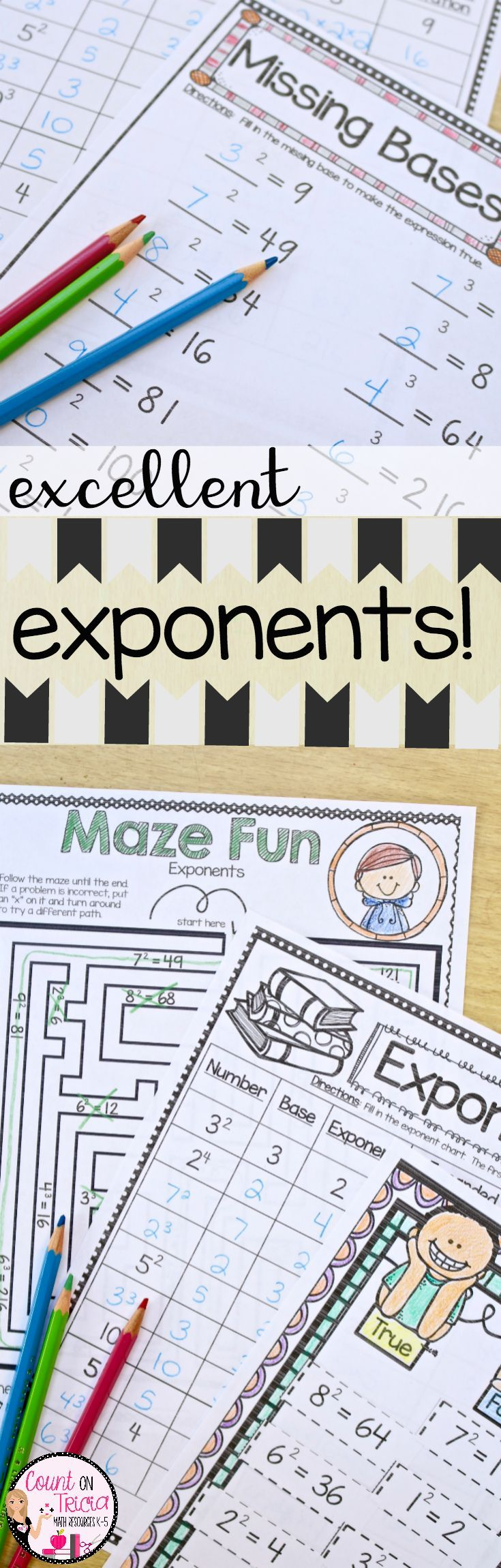 Exponent Practice and Activities for Fourth Grade Math and Fifth Grade Math.