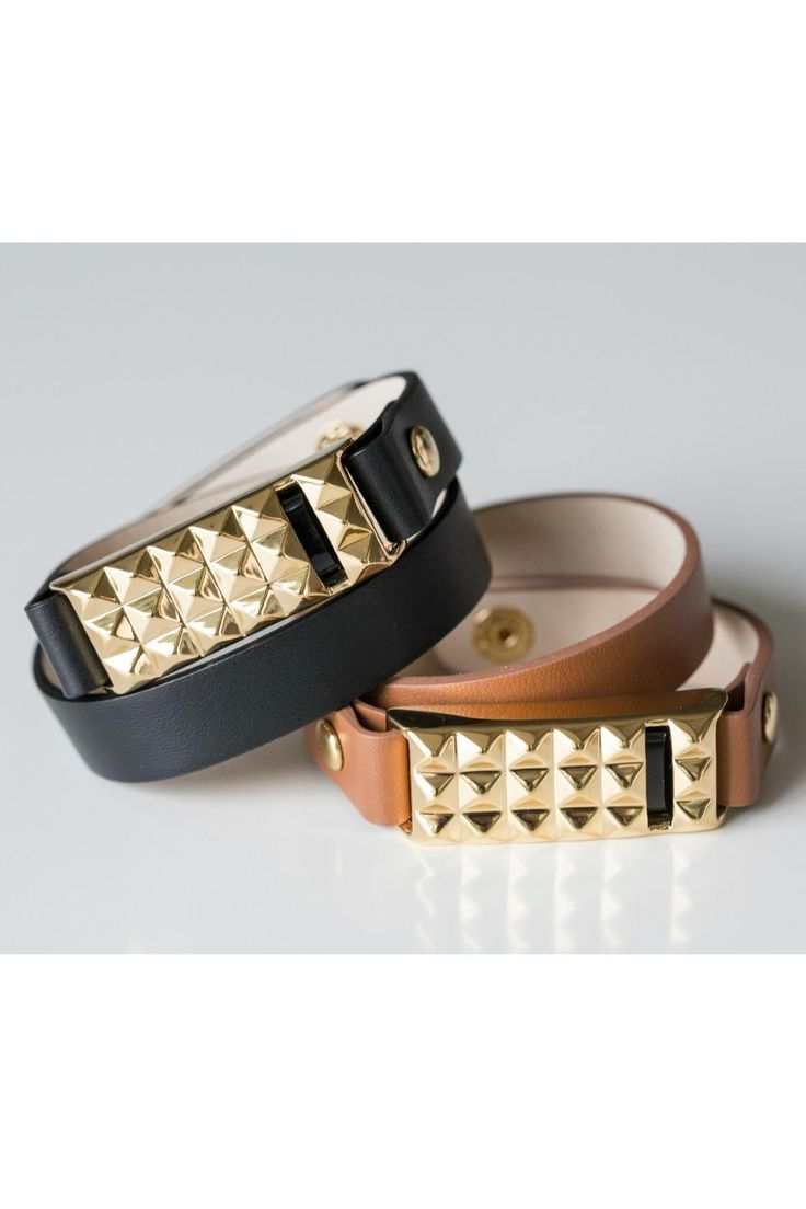 "Finally, Fashion for your FitBit! Get fit in style with the stud double wrap bracelet! We think you'll love how this bracelet, with its 12K gold studs, black leather band, and your Fitbit Flex inside, will make every step just a bit bolder! The leather band wraps twice around your wrist and has a double snap closure to make it extra comfortable. Adjustable to fit 6"" to 7"" wrist. *FitBit Not Included"