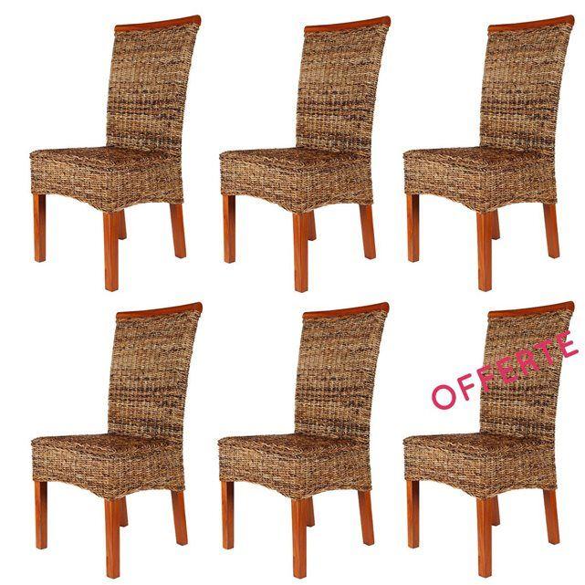Lot 6 Chaises en Rotin Marron - Malibu - Chaises de salle à manger