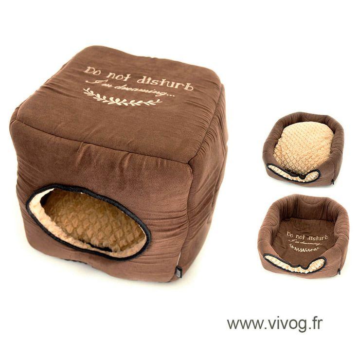 Corbeille panier pour chien - Maison 2 en 1 cosy marron