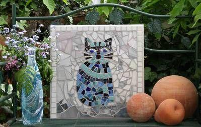 Tableau chat en mosaïque