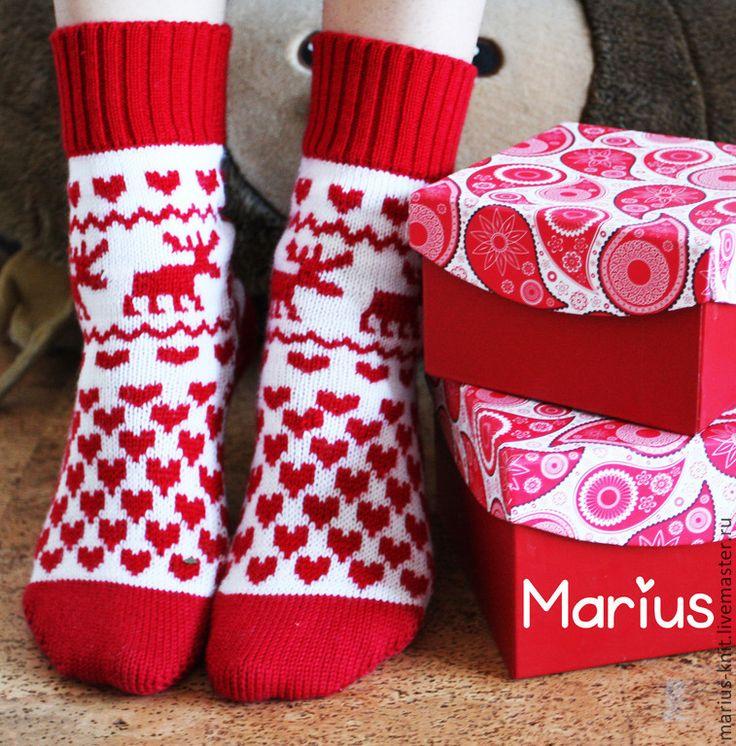 """Купить Вязаные жаккардовые носки """"рождественские"""" с оленятами - новогодний подарок, Новый Год, рождество"""
