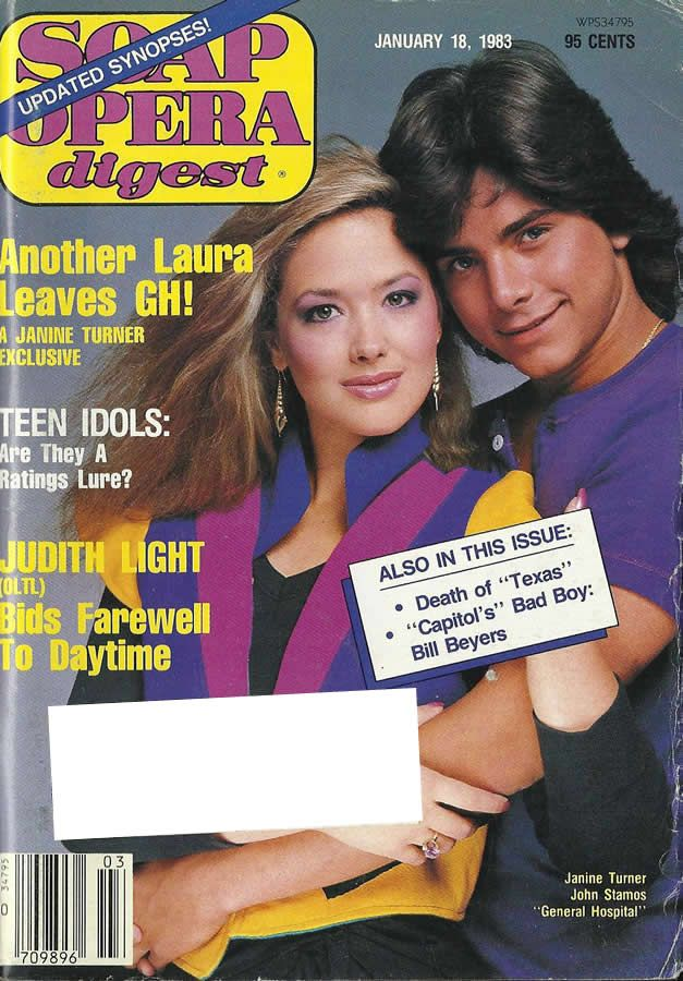 Janine Turner & John Stamos (Laura & Blackie #GH) 1.18.83 http://classicsodcovers.tumblr.com/
