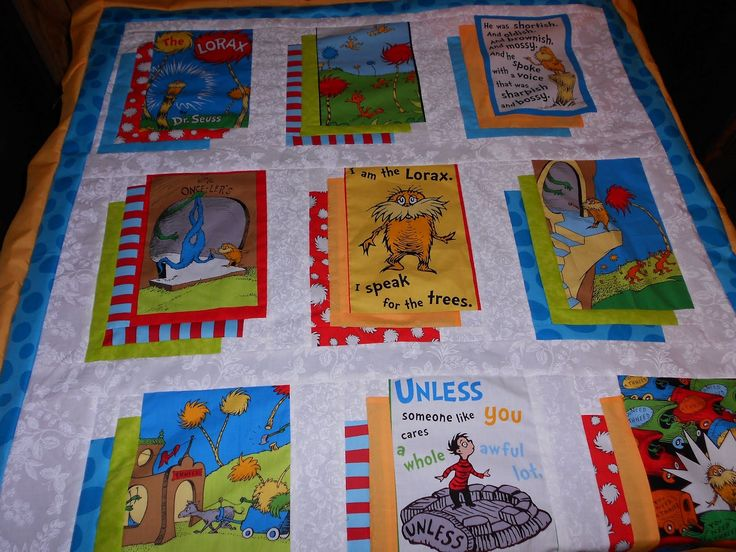 """I have been working on a quilt using the Dr Seuss """"The Lorax"""" fabric.  It is coming along nicely and will be donated to an upcoming raffle...."""