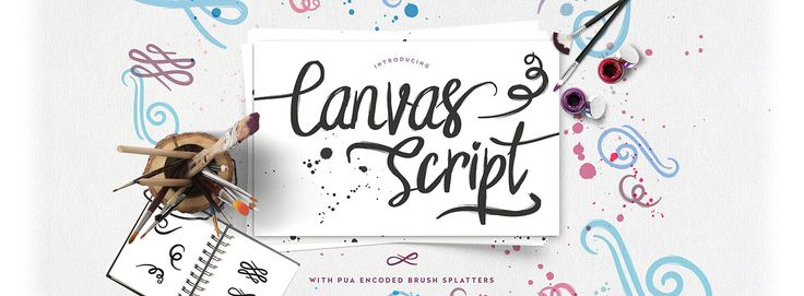Canvas Script is a free exclusive font from font bundles that comes with PUA encoded features such as brush splatters. Download instantly today.#free #font #lettering #type #typeface -partner link