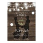 Rustic Lantern Wood Dancing Wedding Invitation