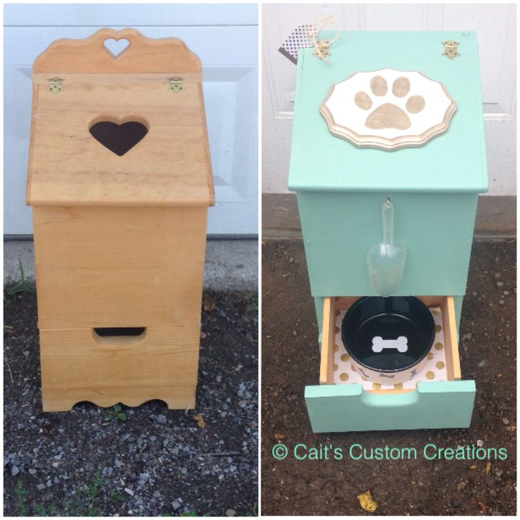 """Potato and Onion Bin repurposed! Now the """"Darling Dog Food Holder"""""""