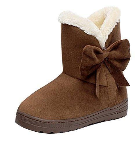 Oferta: 7.5€. Comprar Ofertas de Minetom Mujeres Otoño Invierno Botines Zapatos Calientes Moda Botas Con Bowknot Café EU 41 barato. ¡Mira las ofertas!