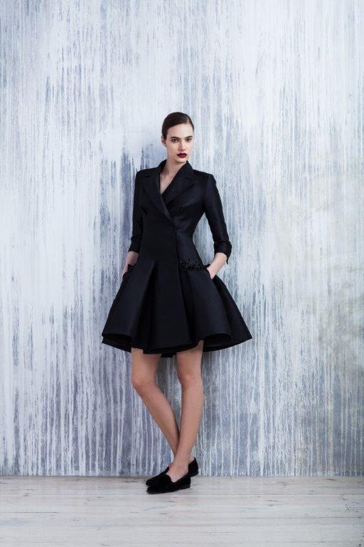 LUBLU Kira Plastinina FW14/15 silk trench coat dress with floral bead embellishment.