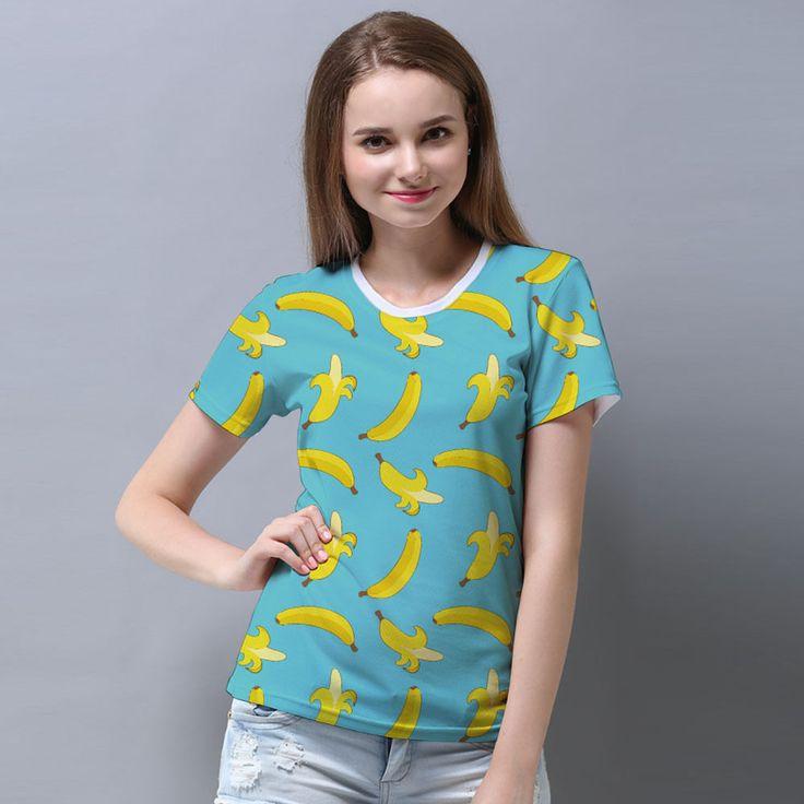Basic T-Shirt Ladies Banana Pattern Tosca Green #Sunkissedbliss #banana #fruit #GraphicTee #pattern #food #drinks #healthy #pineapple #watermelon #ladies #fashion #tees #crop #top #dress