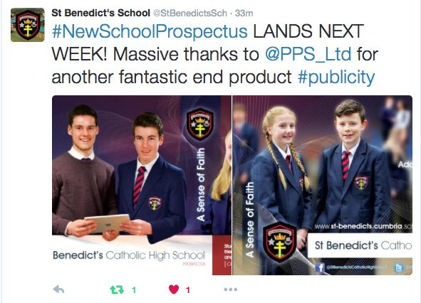 It's always great to receive comments back on our work! This is the prospectus we have recently finished for St. Benedict's Catholic High School, Whitehaven.