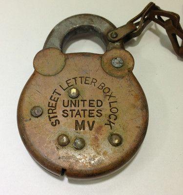 Vintage Brass Us Postal Service Street Letter Box Lock