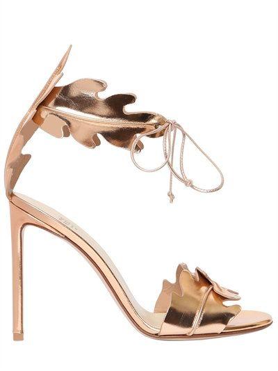 FRANCESCO RUSSO 105Mm Leaf Metallic Leather Sandals, Rose Gold. #francescorusso #shoes #sandals