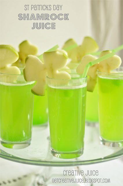 Shamrock Juice. (pineapple juice, lemonade, sparkling white grape juice, & cubed lime popsicles ... garnished w/green apples sliced & cut w/shamrock cookie cutters!) Sounds simple, festive & yummy!!