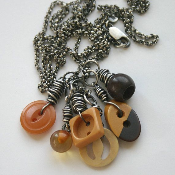 Bakelite Buttons Sterling Charm Necklace Long Chain Vintage Upcycled - Who's Got The Button by SToNZ on Etsy