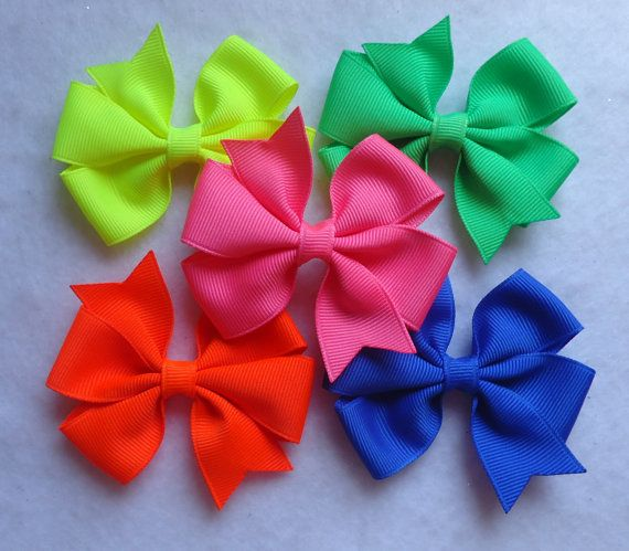 NEON Hair Bows 3 Pinwheel Hair Bows Solid by LizzyBugsBowtique