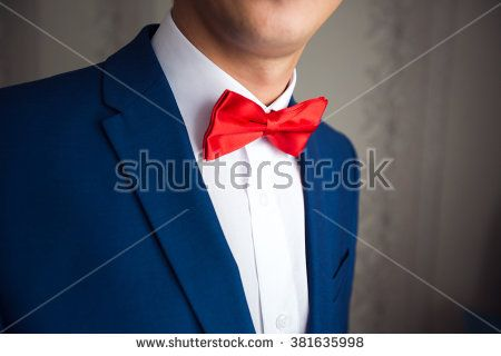 Image result for blue suit and red bow tie