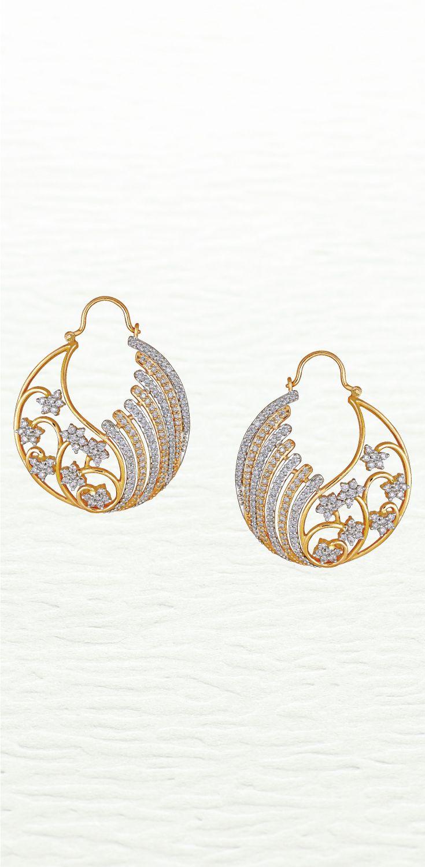 e646575f08734 Modern diamond hoop earrings by Azva #Goldjewellery #luxury #style ...