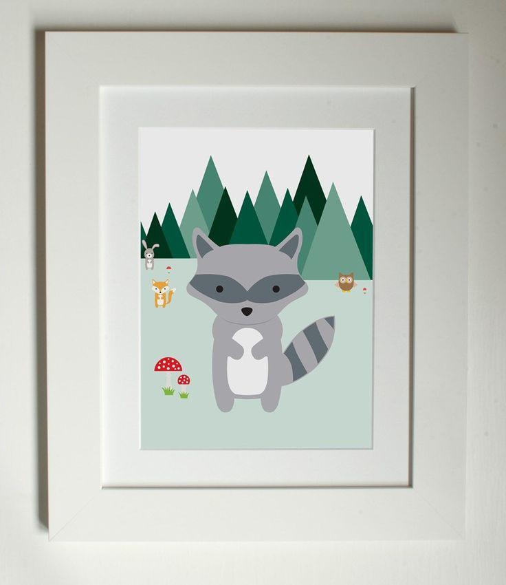 Lottie Coco - Woodland Friends - Racoon - woodland animal print for children, kids room or nursery