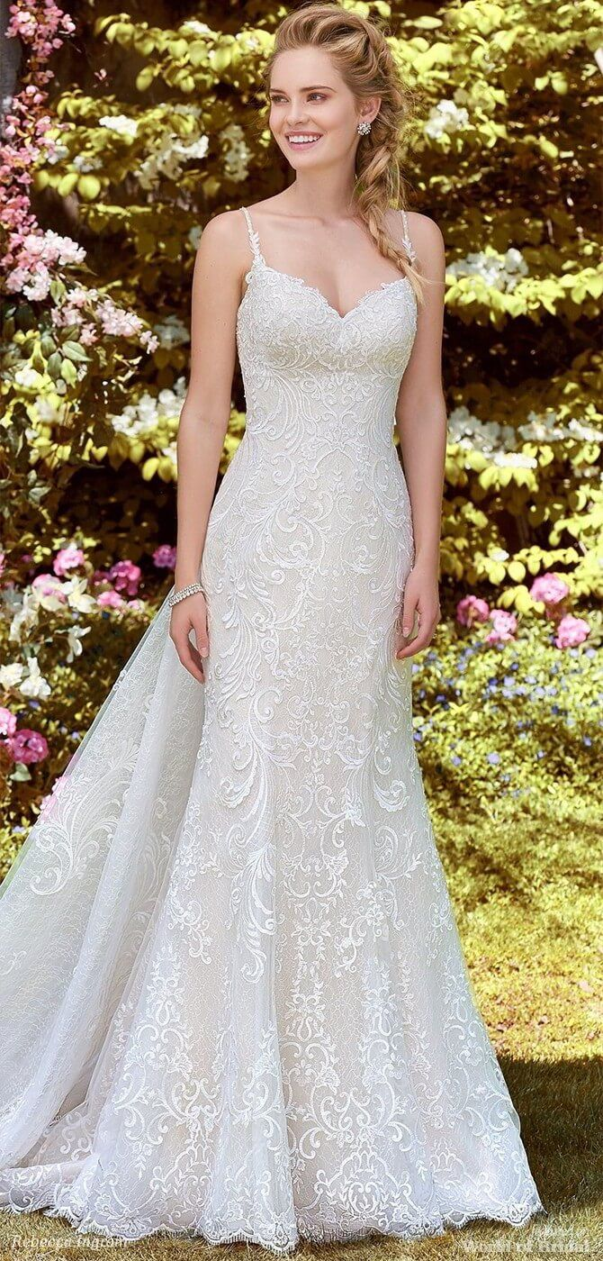 d629c0e37bd2 Rebecca Ingram Spring 2018 fit-and-flare gown - Swirls of romantic lace  motifs dance over textured tulle in this fit-and-flare gown, complete with  ...