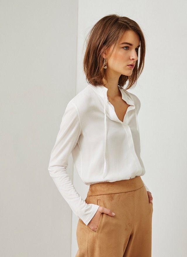 Blusa lisa combinada - Camisas y blusas | Adolfo Dominguez shop online
