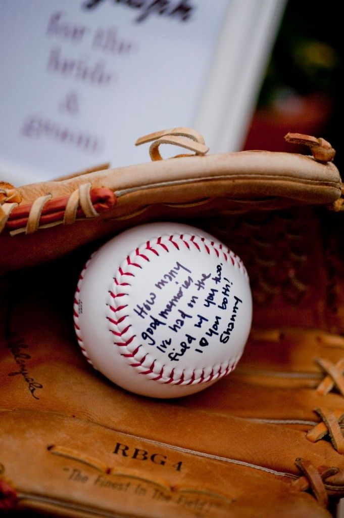 """Instead of a guest book or """"advice tree"""", have everyone write a piece of wedding advice on their own baseball #baseball #weddings"""