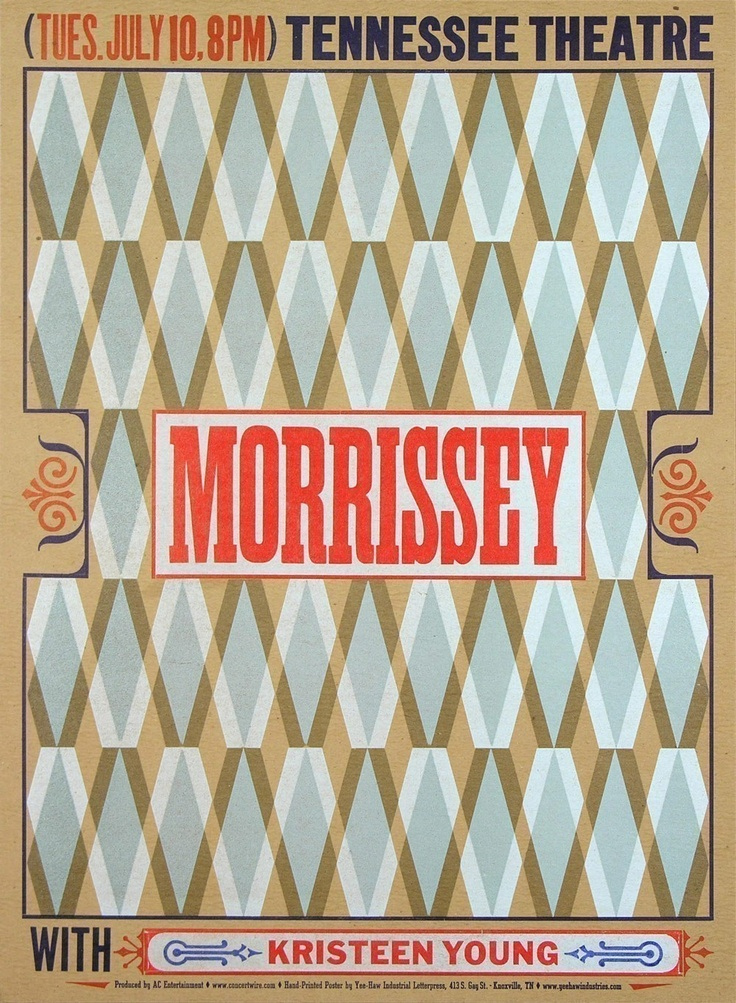 MORRISSEY at TENNESSEE THEATRE with Kristeen Young Hand Printed Letterpress Print.