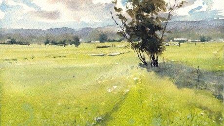 """""""Morgen Field"""" von Vinita Pappas, Plein Air Aquarell, 7 """"x 11"""""""