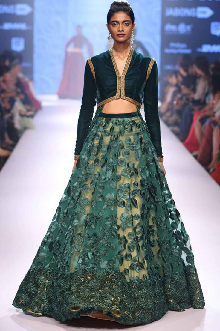 Emerald green floral ribbon work jacket lehenga set available only at Pernia's Pop Up Shop.