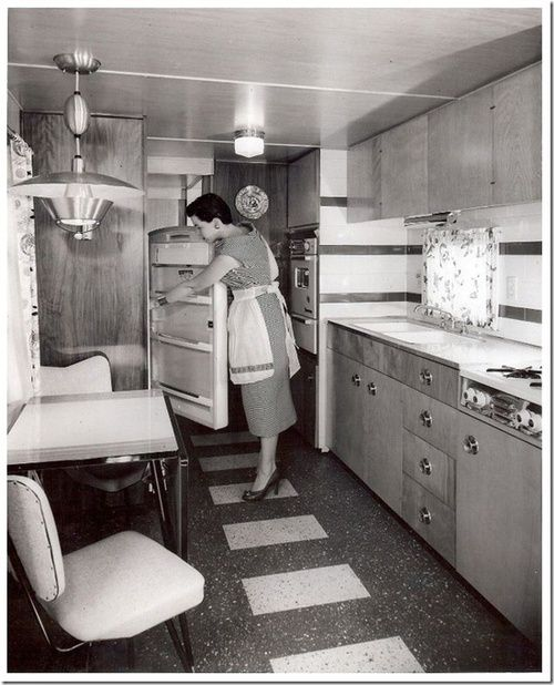 theniftyfifties:  Mobile home interior, 1955.