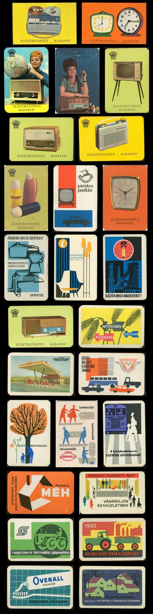 hungarian mid-century pocket calendars