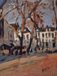 An impressionistic painting of the OLV Plein (Our Lady Square) in Maastricht. Oil on panel, 30x40cm by Briex
