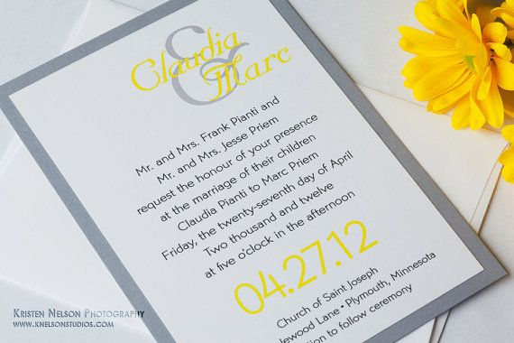 Unique Ampersand Bold Modern Shimmer Canary Yellow Gray Grey Wedding Invitations / Invitation / Invites / Invite Sample