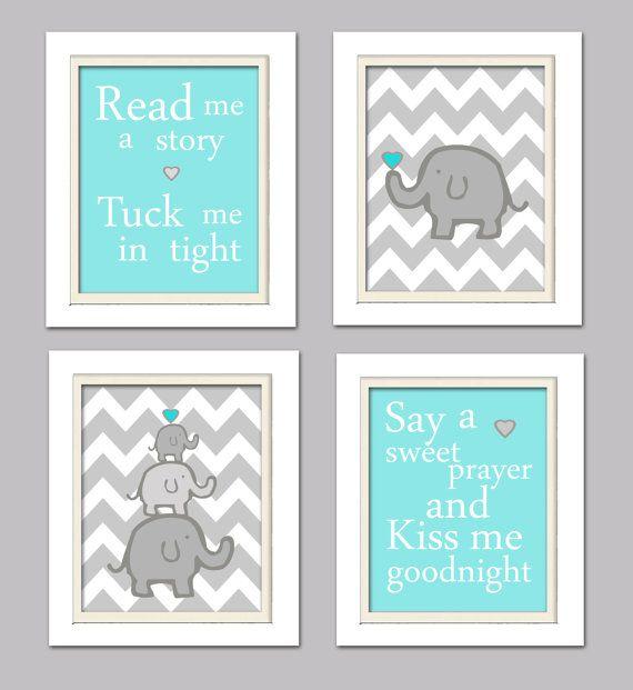 Nursery Quad, Turquoise and Grey nursery, Elephant Nursery, Set of 4 8X10, Turquoise, Gray
