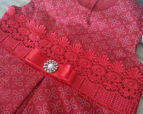 Vestido vermelho com renda guirpir