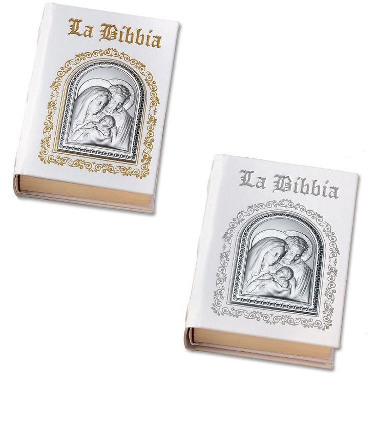 Santa Bibbia in pelle bianca e placca argento. Cm 21x15