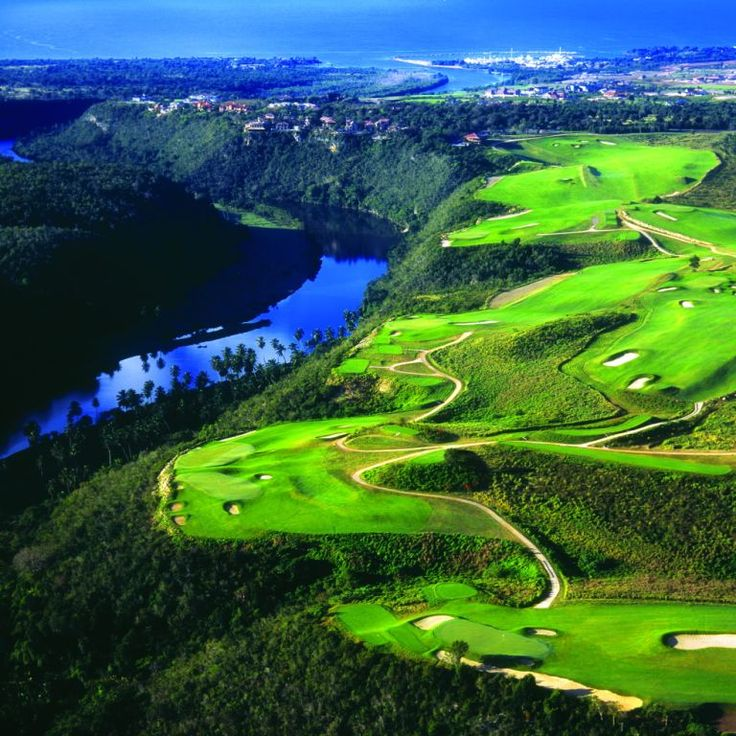 Dye Fore golf course (Pete Dye design) overlooking the Chavon River in La Romana, Dominican Republic.
