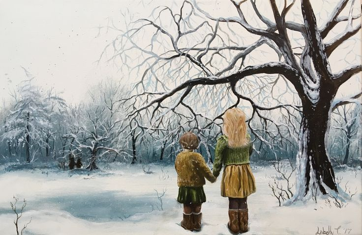 """""""The sisters"""", acrylic on canvas, 60x40 cm, 2017. By artist Lisbeth Thygesen.  Sister, sisters, winter, landscape, snow, clearing, holding hands, Nordic, Scandinavian, realism, acrylic, painting, art, danish,"""
