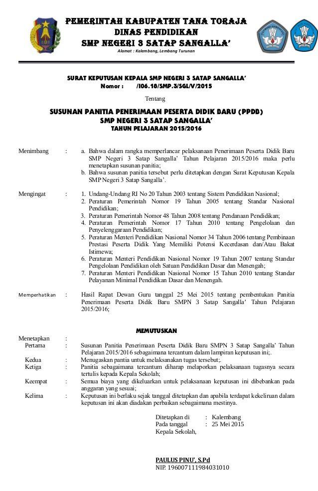 PEMERINTAH KABUPATEN TANA TORAJA DINAS PENDIDIKAN SMP NEGERI 3 SATAP SANGALLA' Alamat : Kalembang, Lembang Turunan SURAT K...