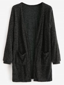 Open Front Two Pockets Longline Cardigan – Black M