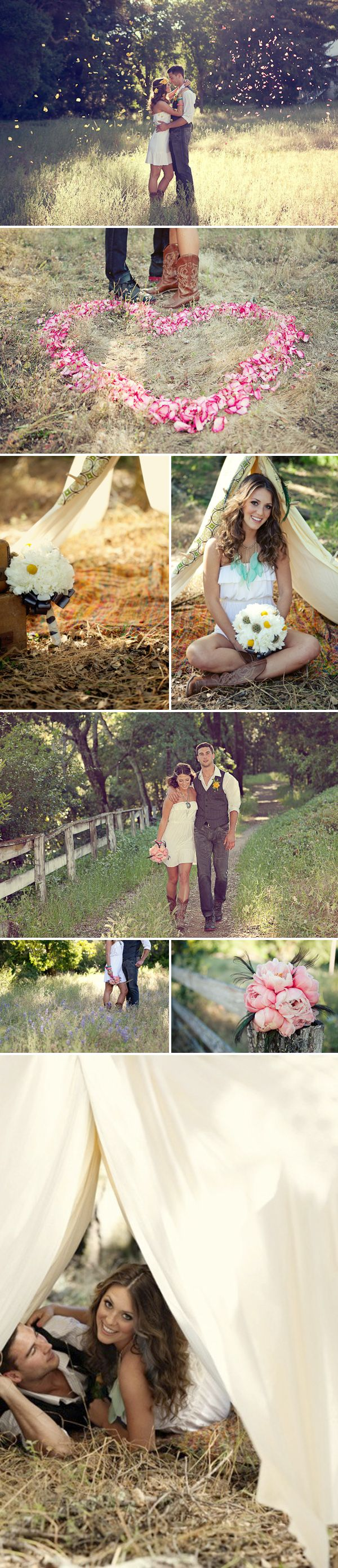 I love love love love this! Especially the flower petals and her simple dress with western boots...engagement photo idea?