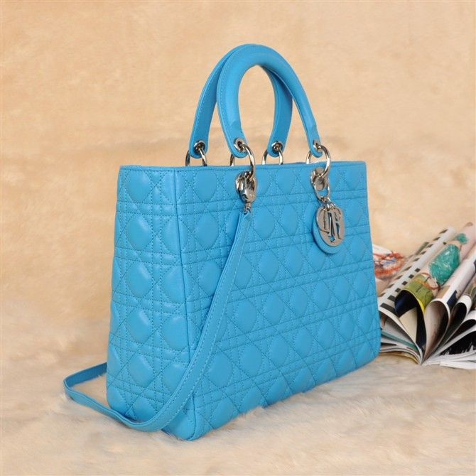 Christian Dior Quilted Lady Top Handle Bag With Blue Sheepskin Leather 4088/DIYGNIJA