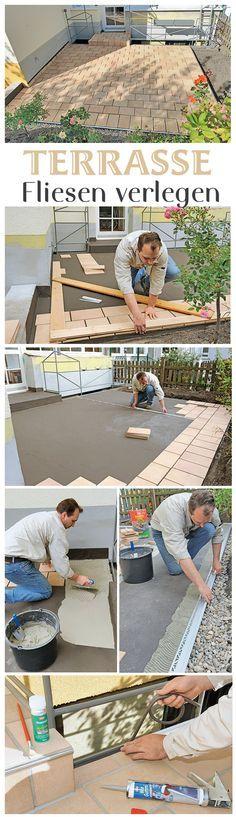 Wenn der Untergrund der Terrasse fertig ist, können die Fliesen verlegt werden. Wir zeigen ganz detailliert, wie du die Fliesen selbst legen kannst und was du bei den Anschlussstellen und der Treppe beachten musst.