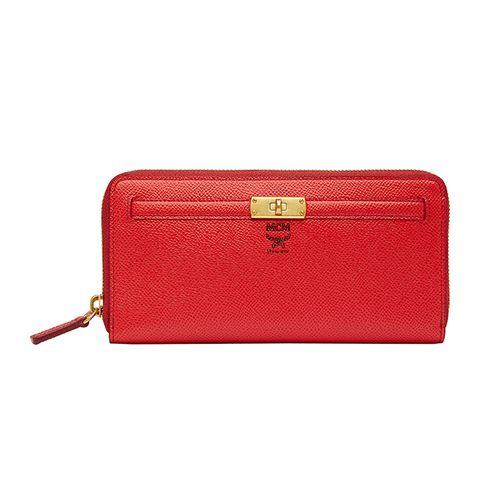 Genuine MCM Zipper Cow Leather Women Wallet Purse Red