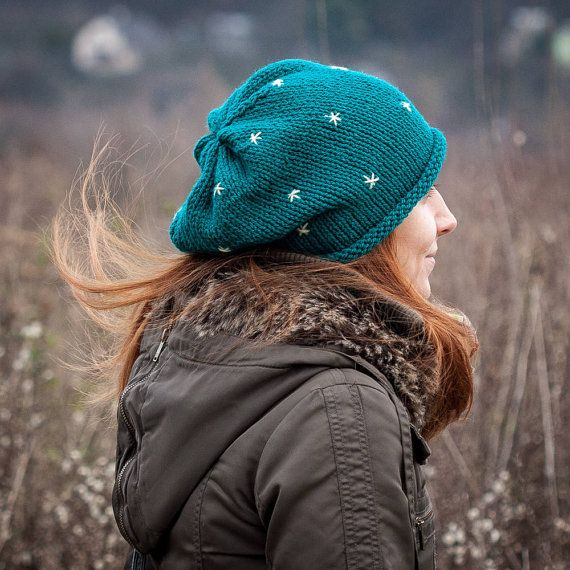 Dark Cyan Slouchy Beanie Hat With Embroidered Stars by RUKAMIshop