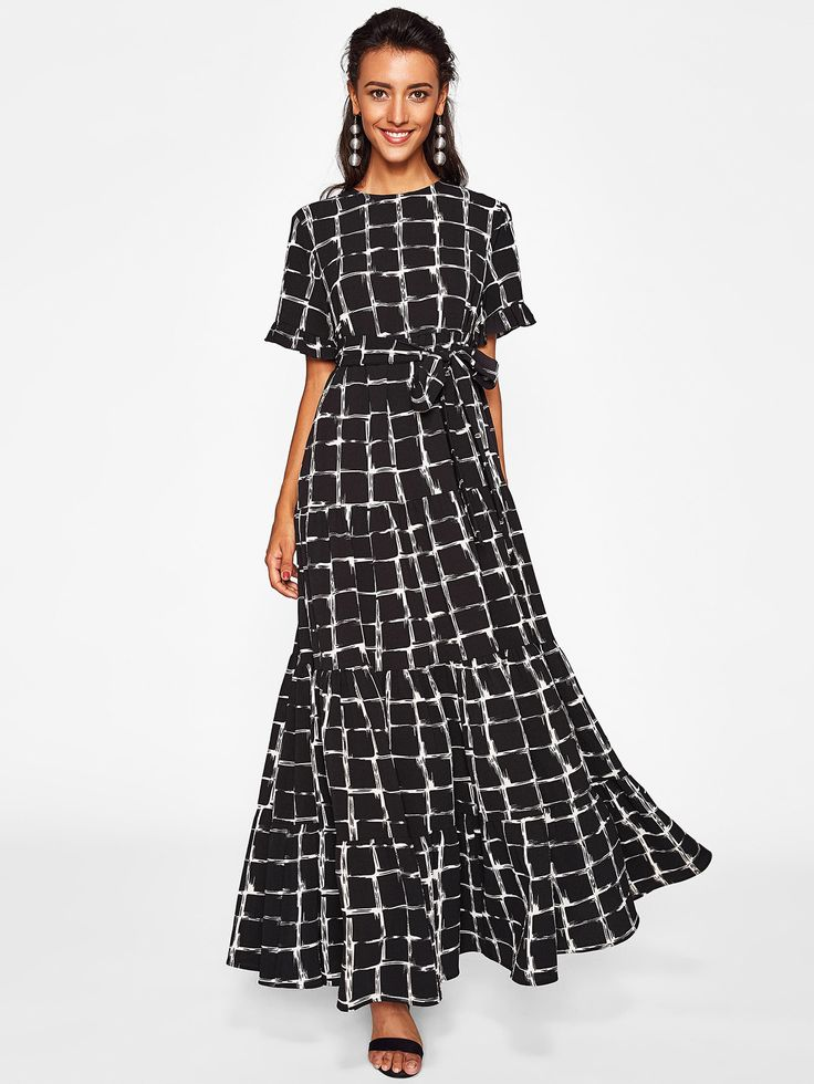 Shop Frilled Sleeve Brush Stroke Grid Tiered Dress online. SheIn offers Frilled Sleeve Brush Stroke Grid Tiered Dress & more to fit your fashionable needs.